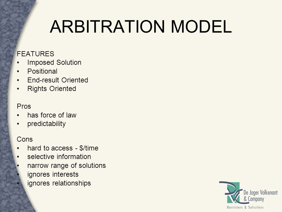ARBITRATION MODEL FEATURES Imposed Solution Positional