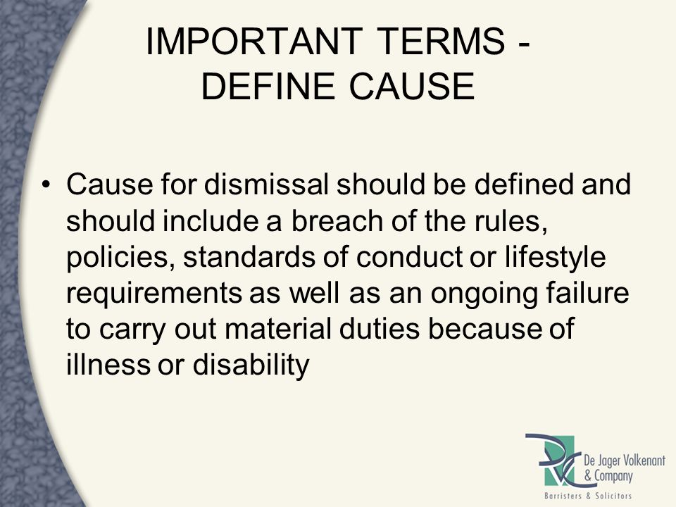 IMPORTANT TERMS - DEFINE CAUSE
