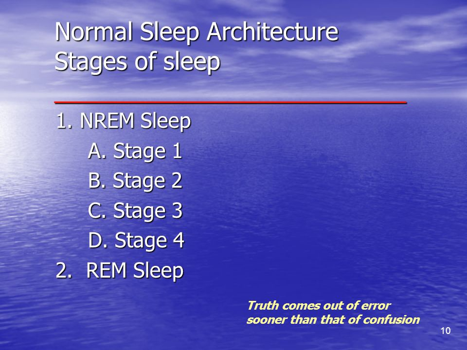 Normal Sleep Architecture Stages of sleep __________________________