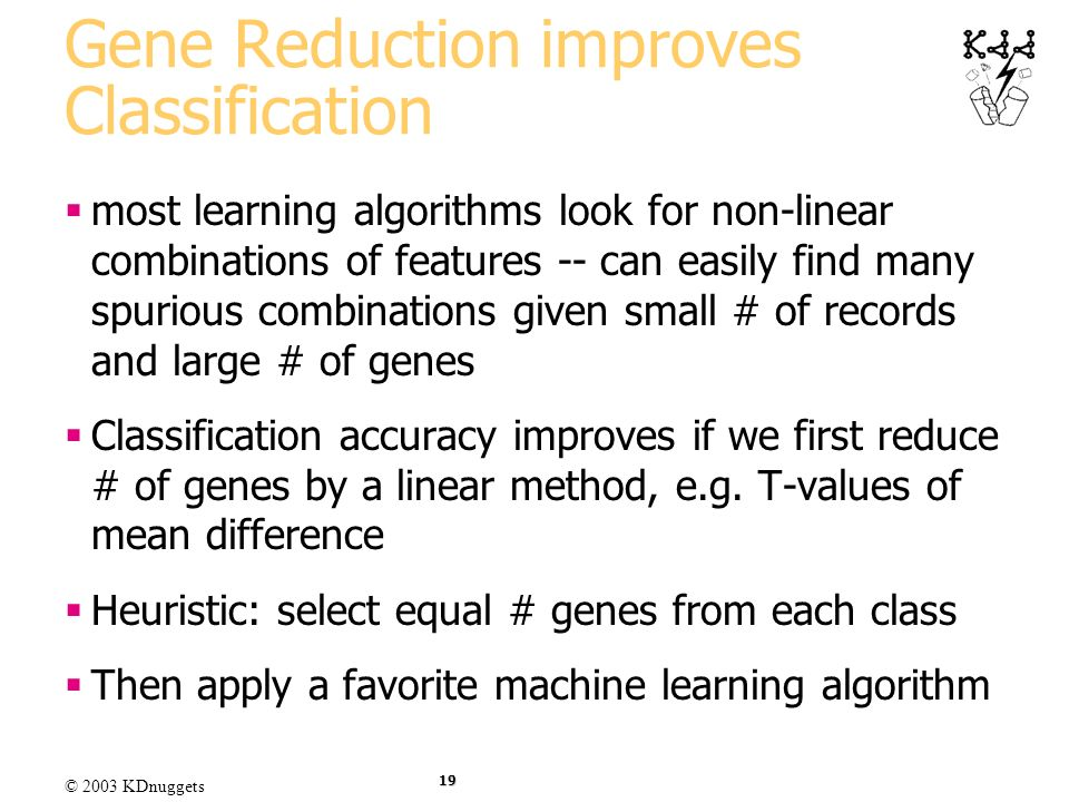 Gene Reduction improves Classification