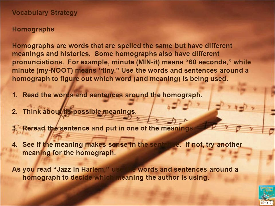 Vocabulary Strategy Homographs.