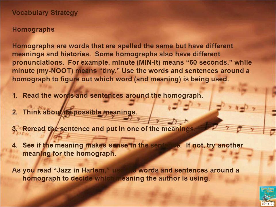 Vocabulary StrategyHomographs.
