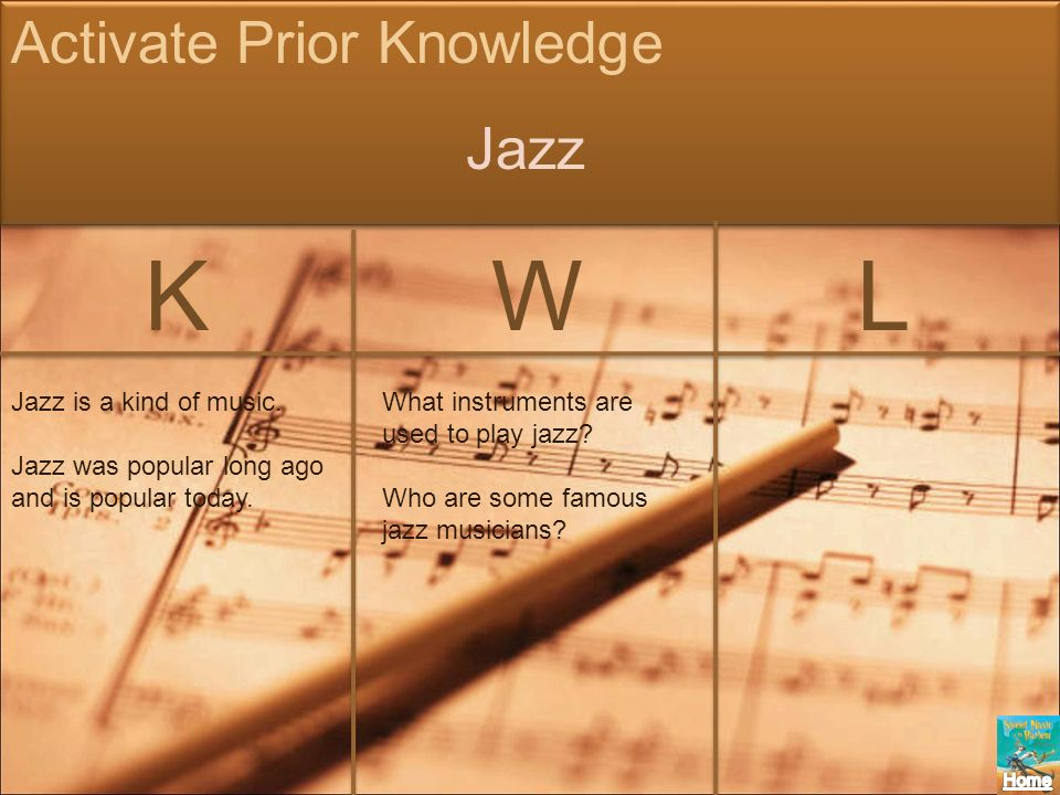 K W L Activate Prior Knowledge Jazz Jazz is a kind of music.