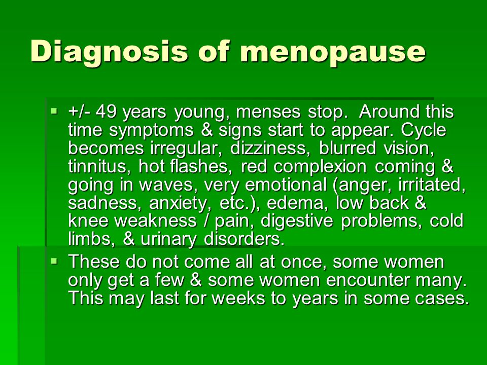 Diagnosis of menopause