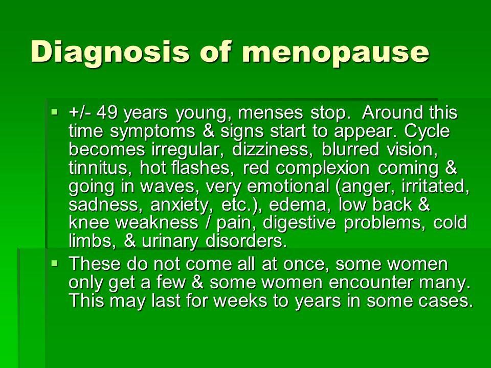 Diagnosis of menopause