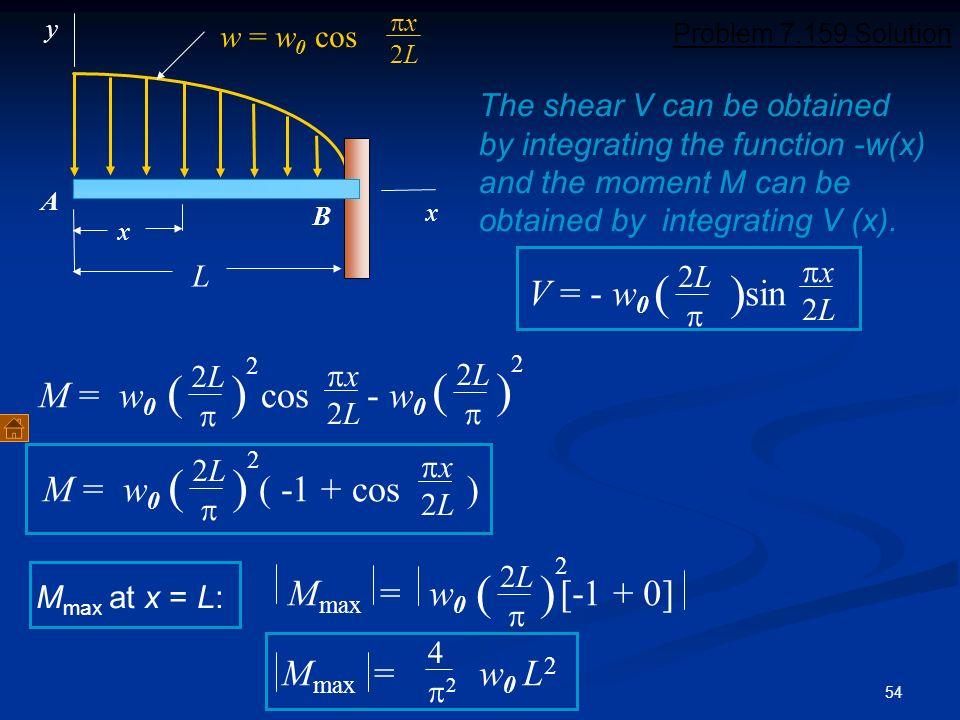 ( ) ( ) ( ) ( ) ( ) V = - w0 sin 2 2 M = w0 cos - w0 2