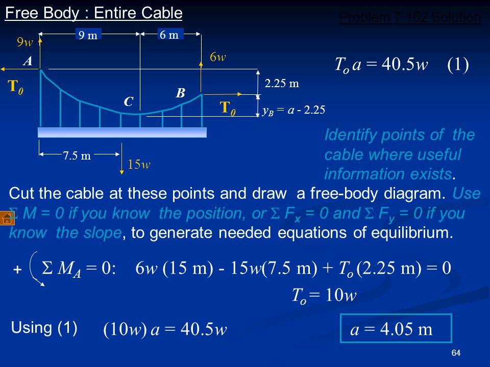 S MA = 0: 6w (15 m) - 15w(7.5 m) + To (2.25 m) = 0 To = 10w