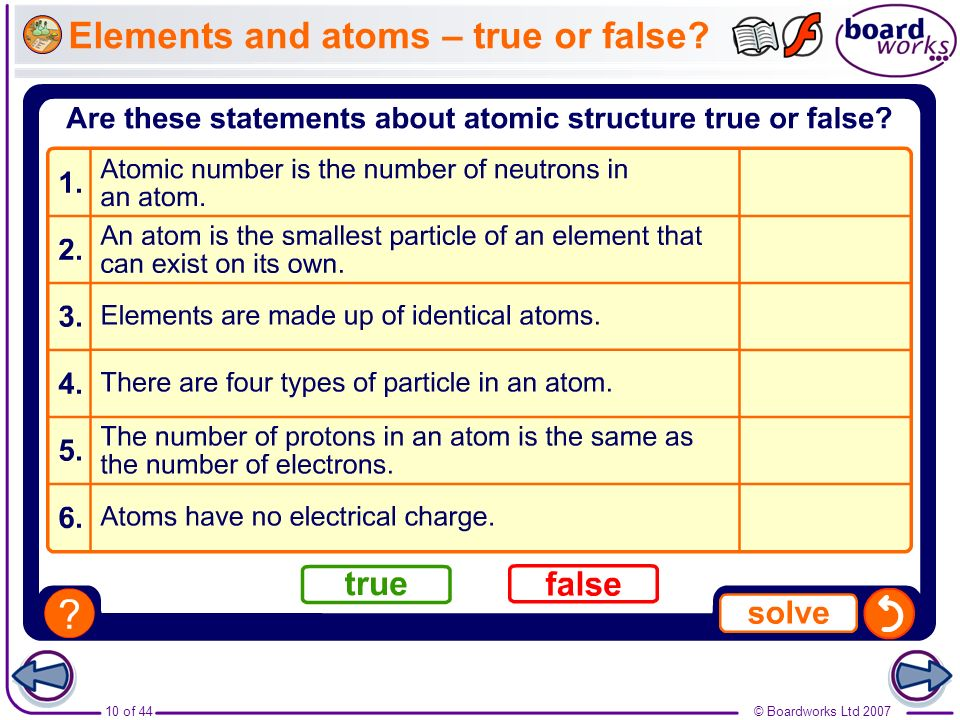 Elements and atoms – true or false