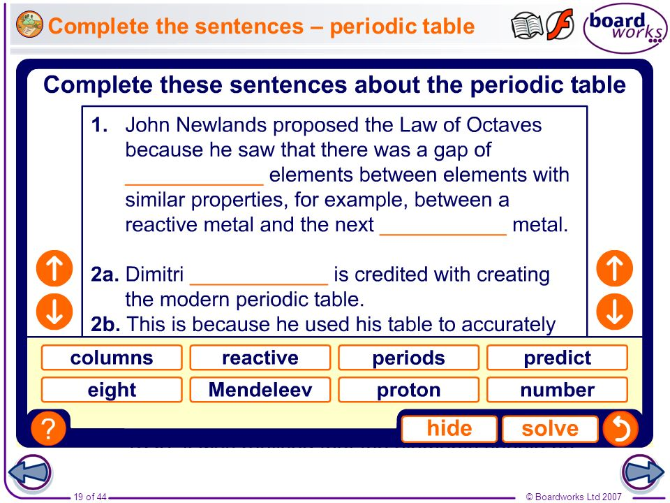 Complete the sentences – periodic table