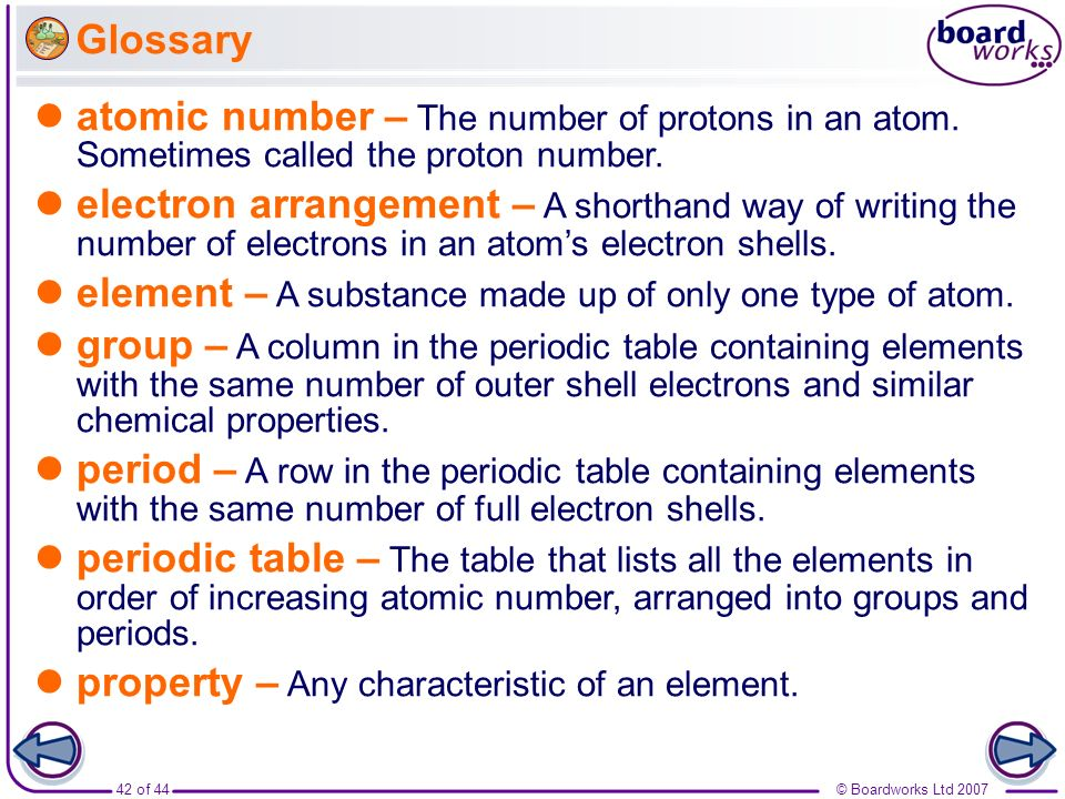 element – A substance made up of only one type of atom.
