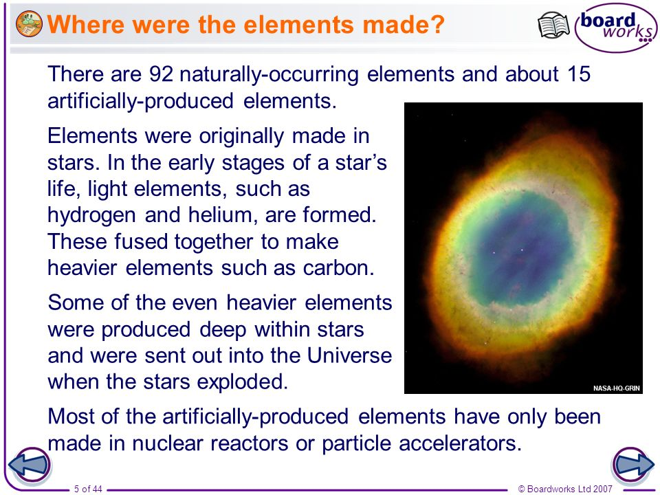 Where were the elements made