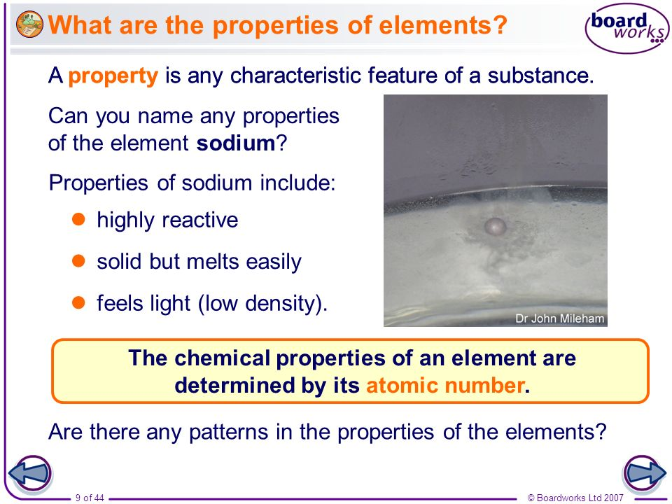 What are the properties of elements