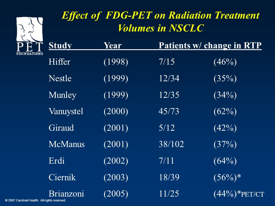 Effect of FDG-PET on Radiation Treatment Volumes in NSCLC