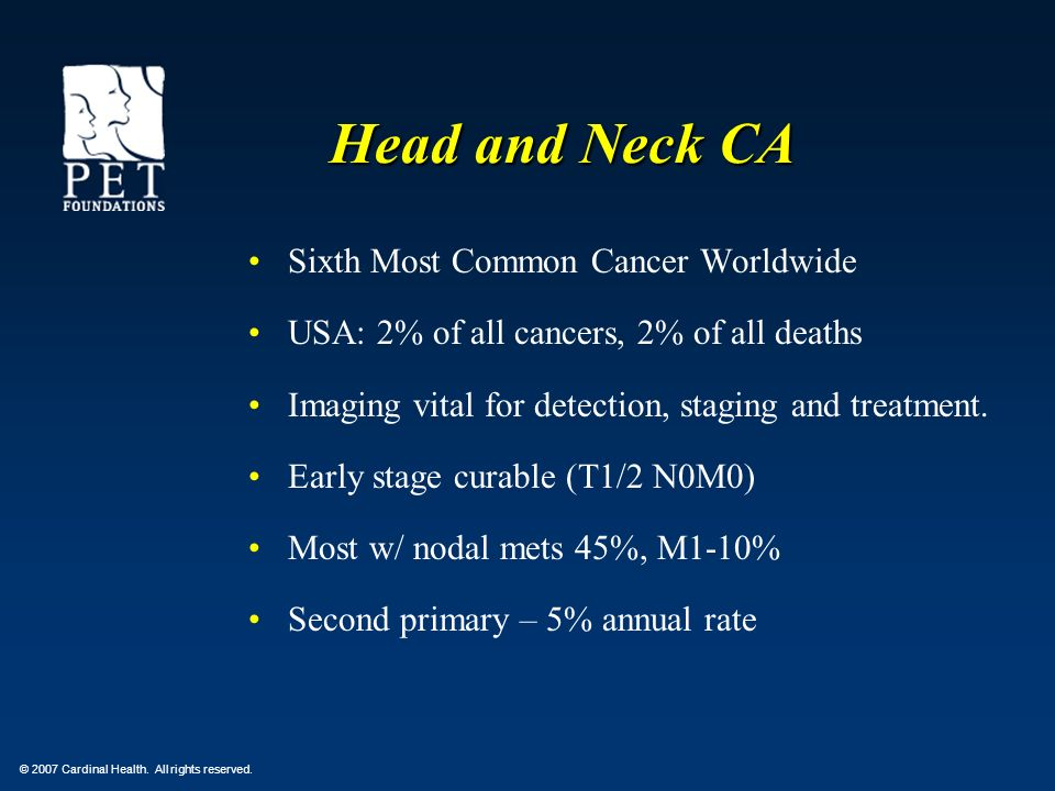 Head and Neck CA Sixth Most Common Cancer Worldwide