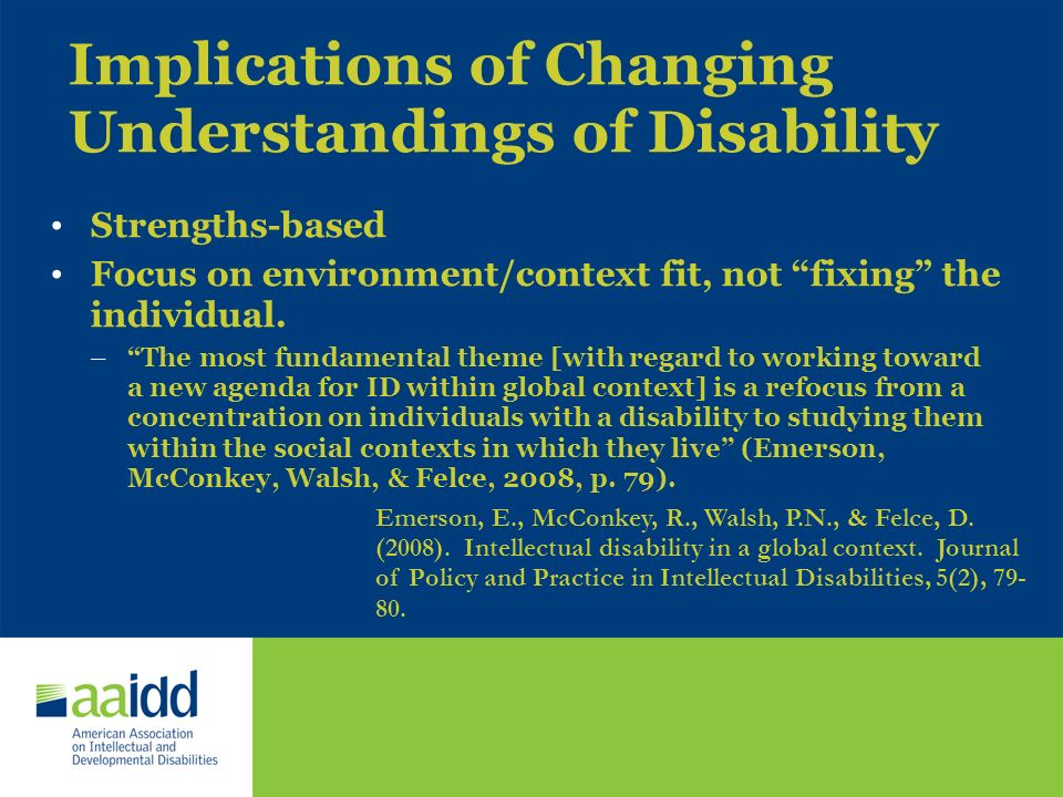 Implications of Changing Understandings of Disability