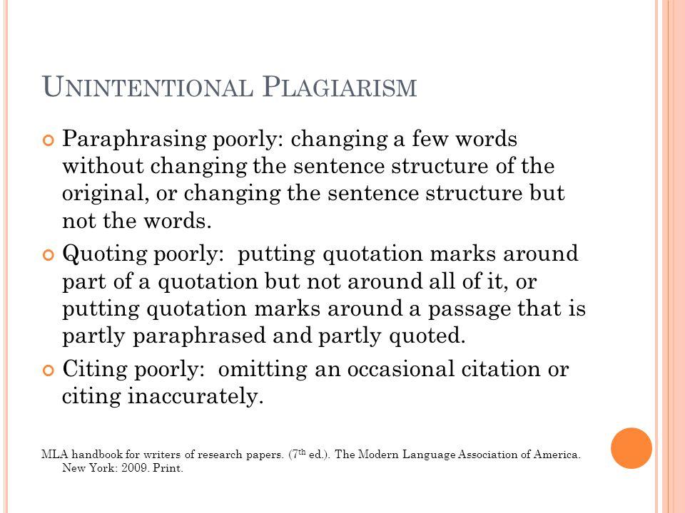 Unintentional Plagiarism
