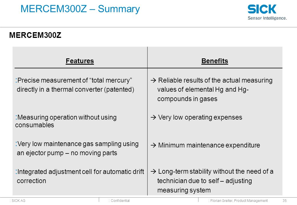 MERCEM300Z – Summary MERCEM300Z Features Benefits