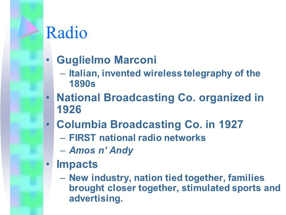 Radio Guglielmo Marconi National Broadcasting Co. organized in 1926