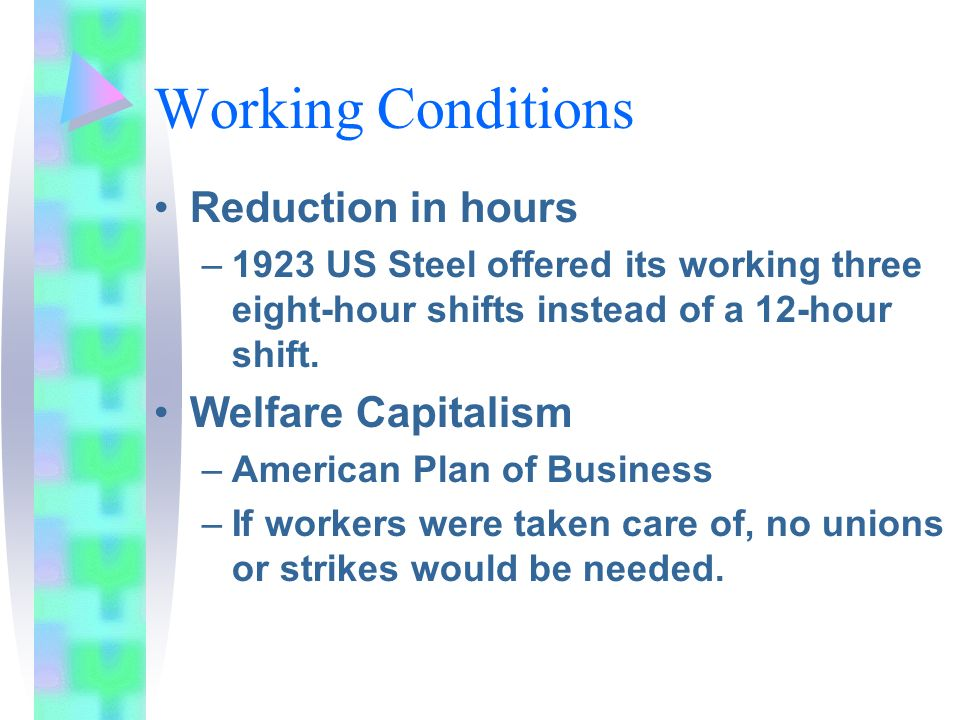 Working Conditions Reduction in hours Welfare Capitalism
