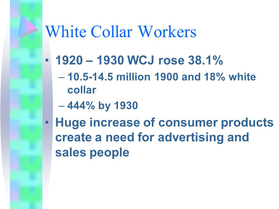 White Collar Workers 1920 – 1930 WCJ rose 38.1%