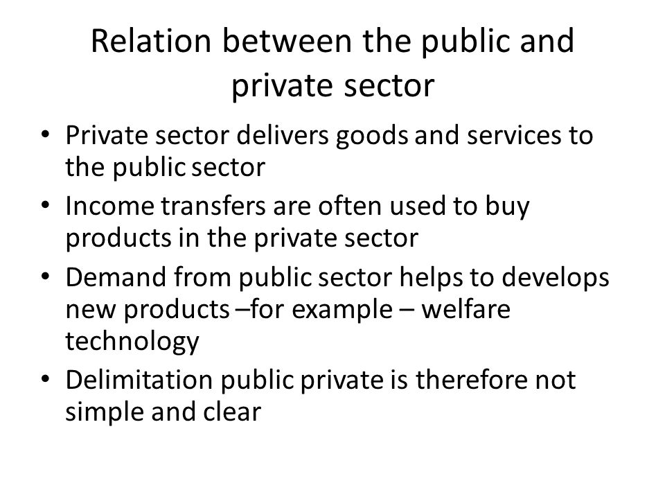 Relation between the public and private sector