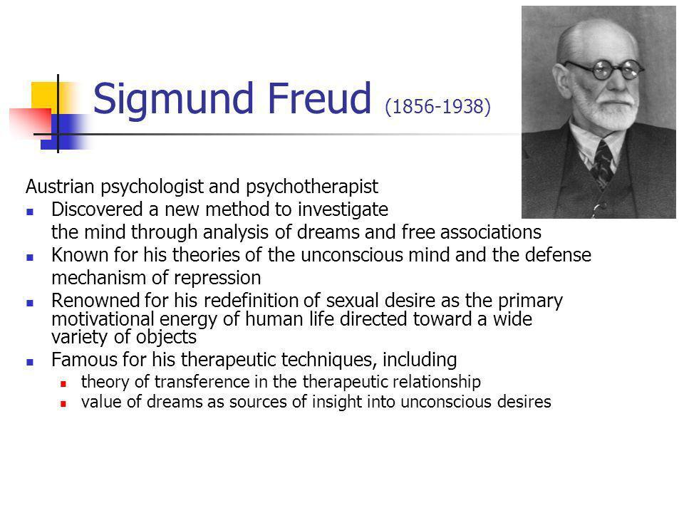 Sigmund Freud (1856-1938) Austrian psychologist and psychotherapist