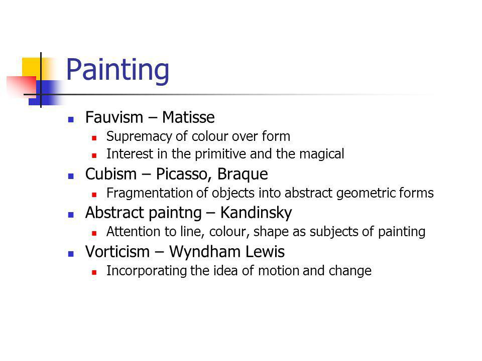 Painting Fauvism – Matisse Cubism – Picasso, Braque