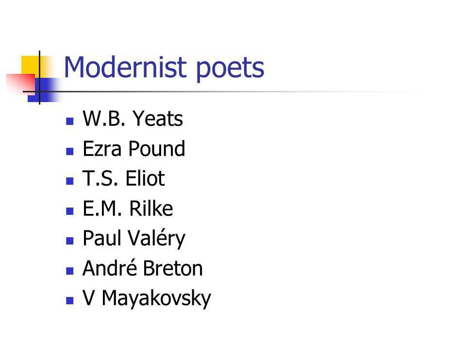 Modernist poets W.B. Yeats Ezra Pound T.S. Eliot E.M. Rilke