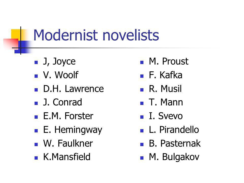 Modernist novelists J, Joyce V. Woolf D.H. Lawrence J. Conrad