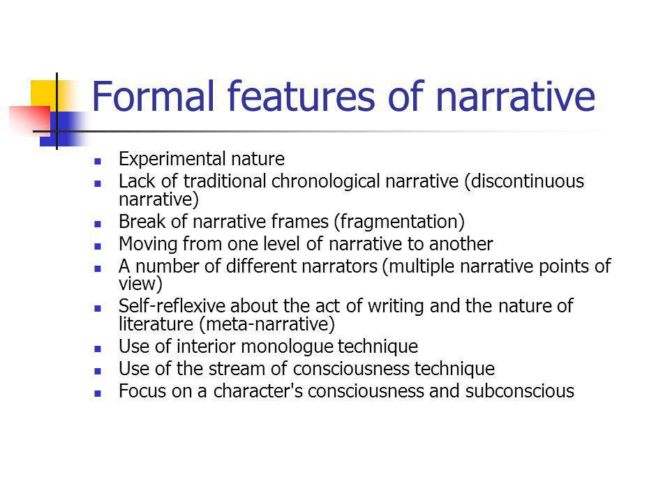 Formal features of narrative