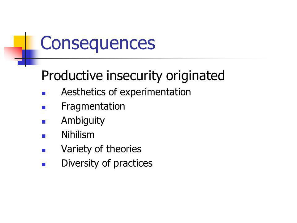 Consequences Productive insecurity originated