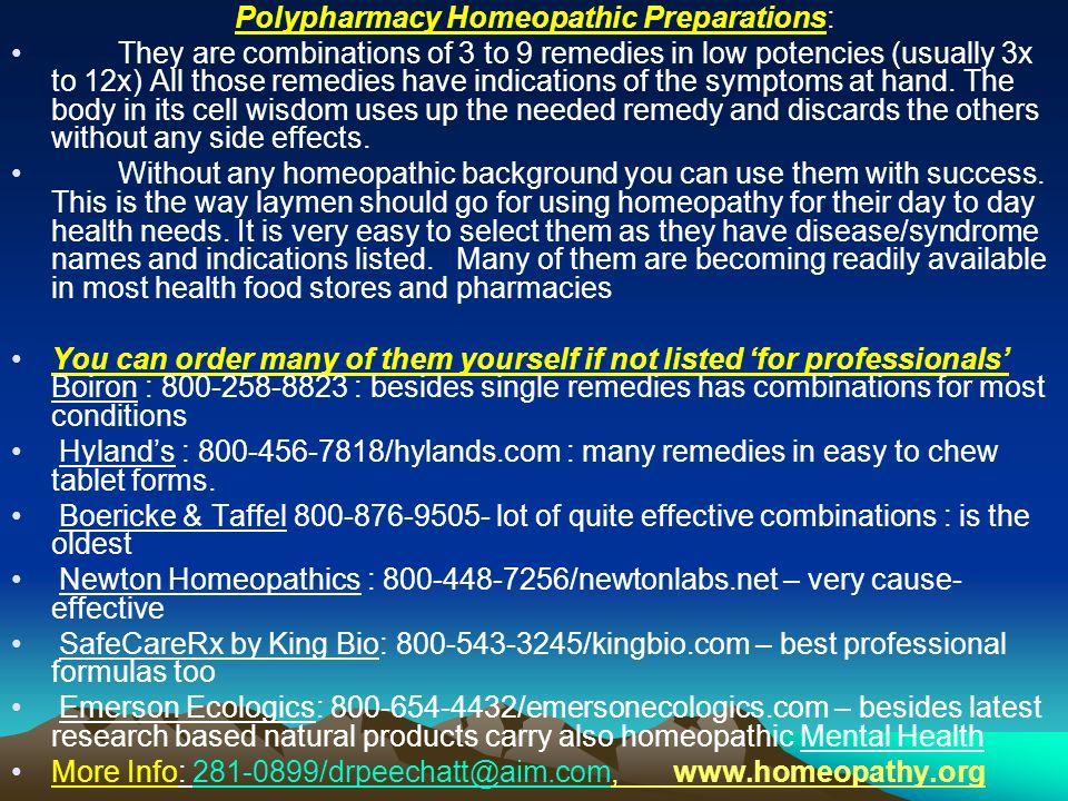 Polypharmacy Homeopathic Preparations: