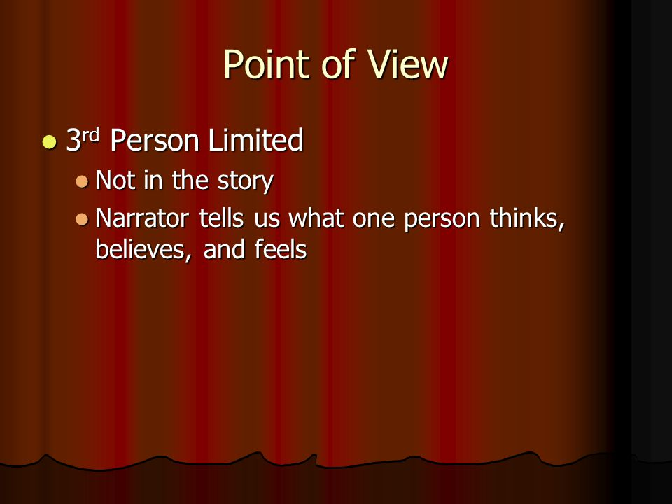 Point of View 3rd Person Limited Not in the story
