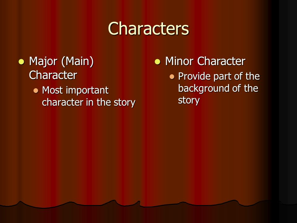 Characters Major (Main) Character Minor Character