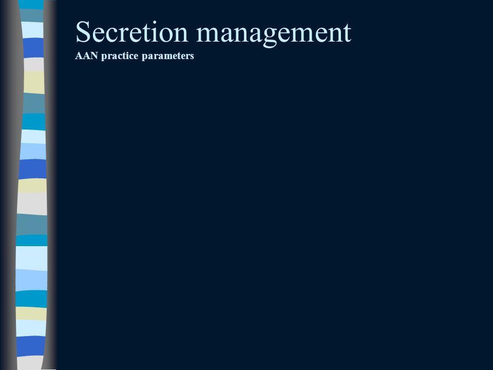 Secretion management AAN practice parameters