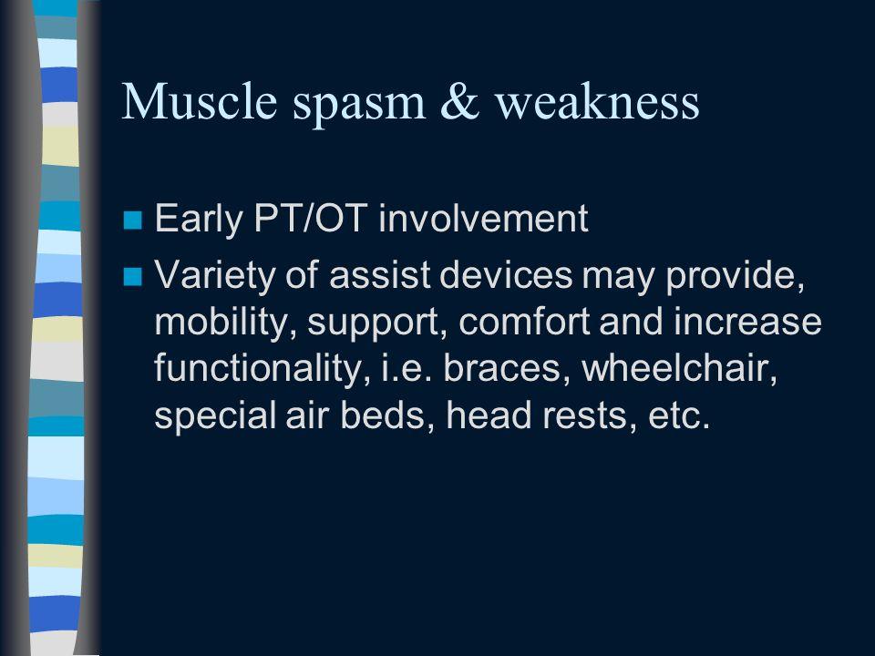 Muscle spasm & weakness