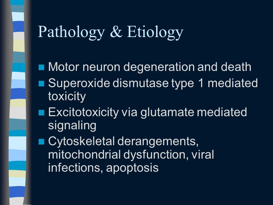 Pathology & Etiology Motor neuron degeneration and death
