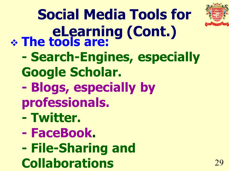 Social Media Tools for eLearning (Cont.)