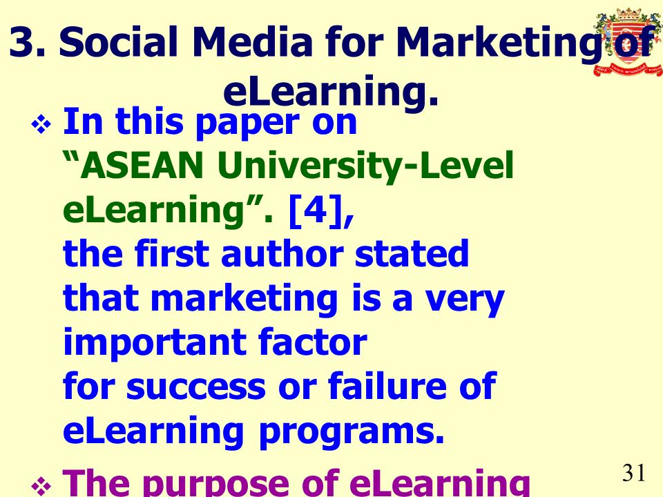 3. Social Media for Marketing of eLearning.