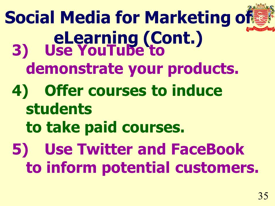 Social Media for Marketing of eLearning (Cont.)