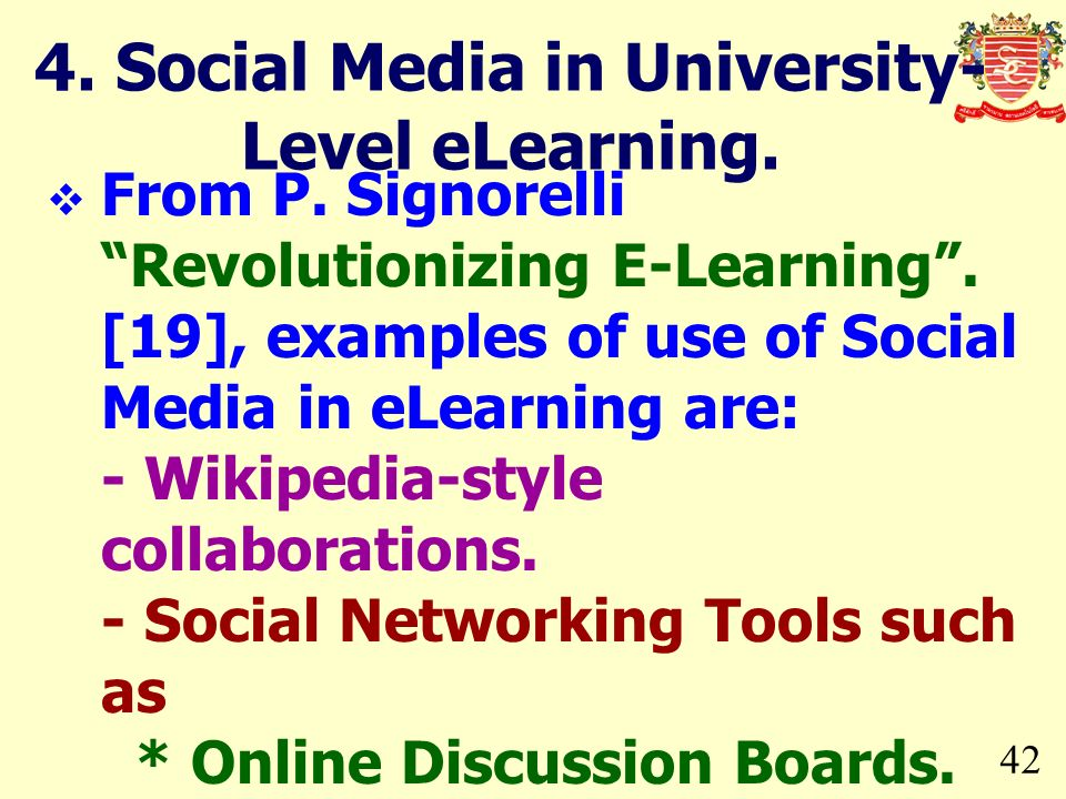 4. Social Media in University-Level eLearning.