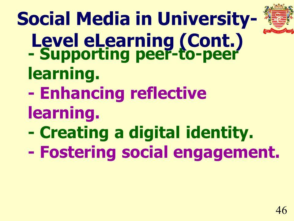 Social Media in University-Level eLearning (Cont.)