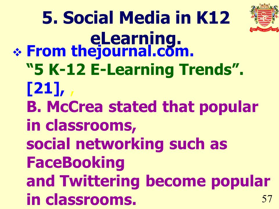 5. Social Media in K12 eLearning.