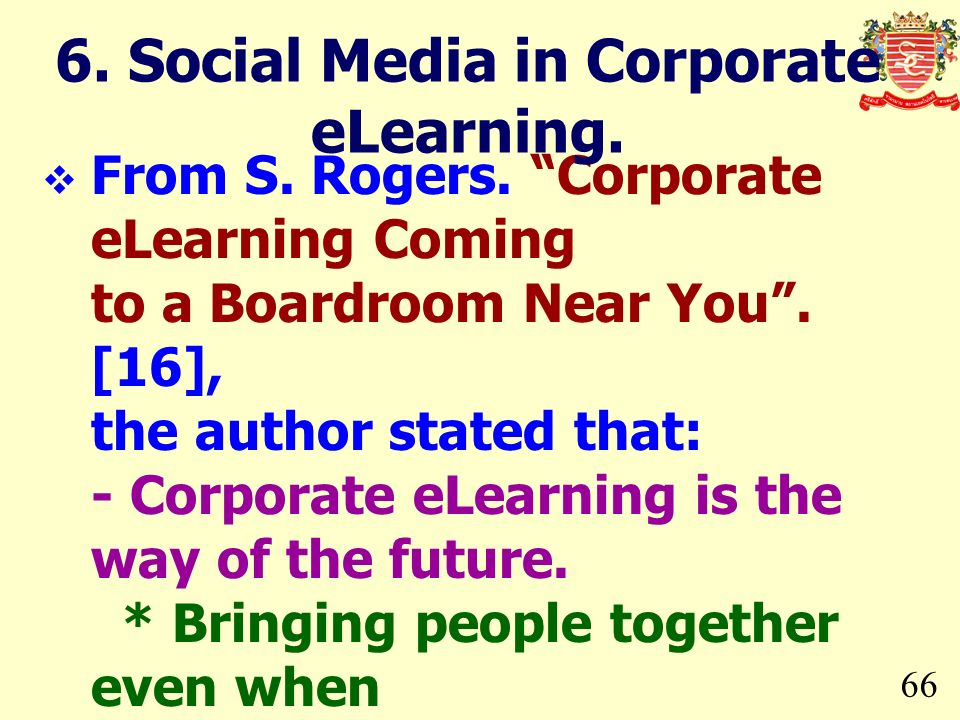 6. Social Media in Corporate eLearning.