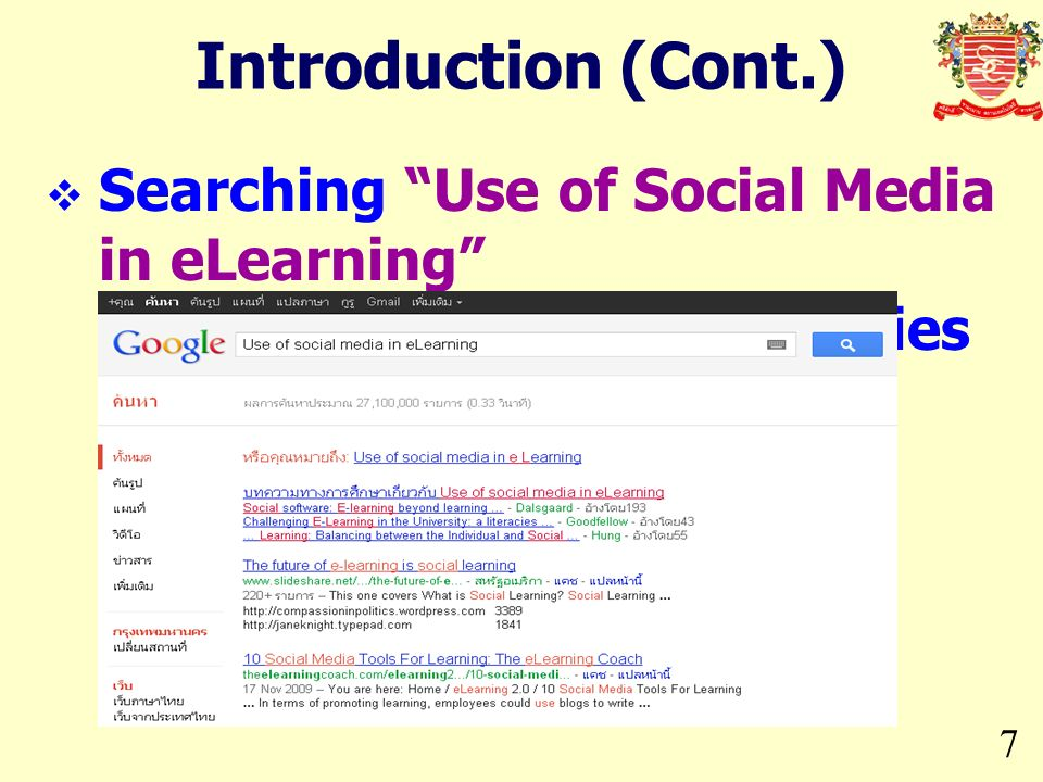 Introduction (Cont.) Searching Use of Social Media in eLearning in Google, 27.1 million entries found.