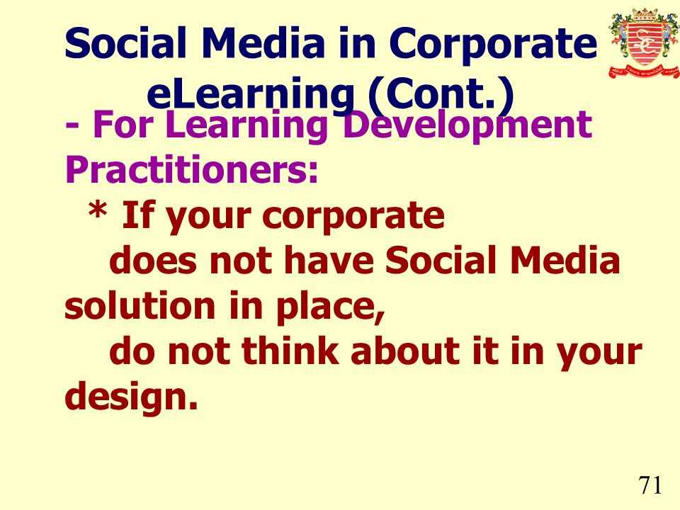 Social Media in Corporate eLearning (Cont.)
