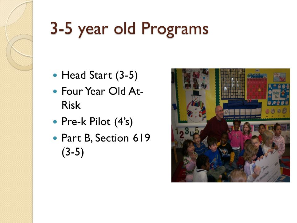 3-5 year old Programs Head Start (3-5) Four Year Old At- Risk
