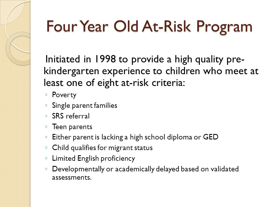 Four Year Old At-Risk Program