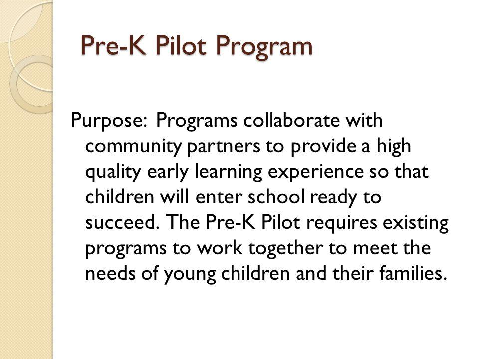 Pre-K Pilot Program