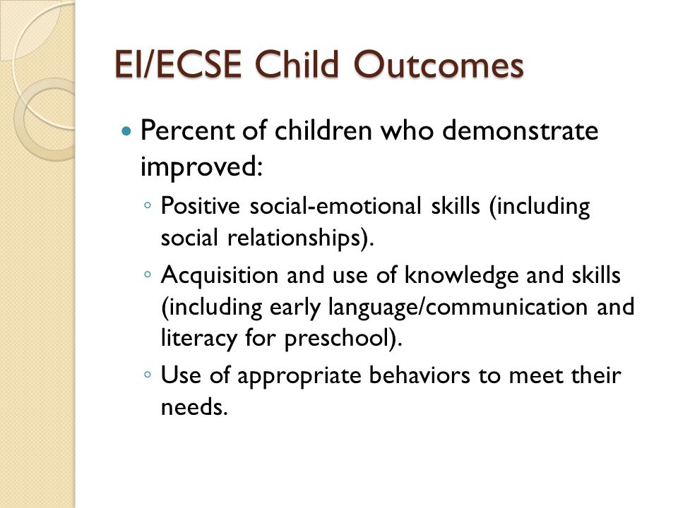EI/ECSE Child Outcomes